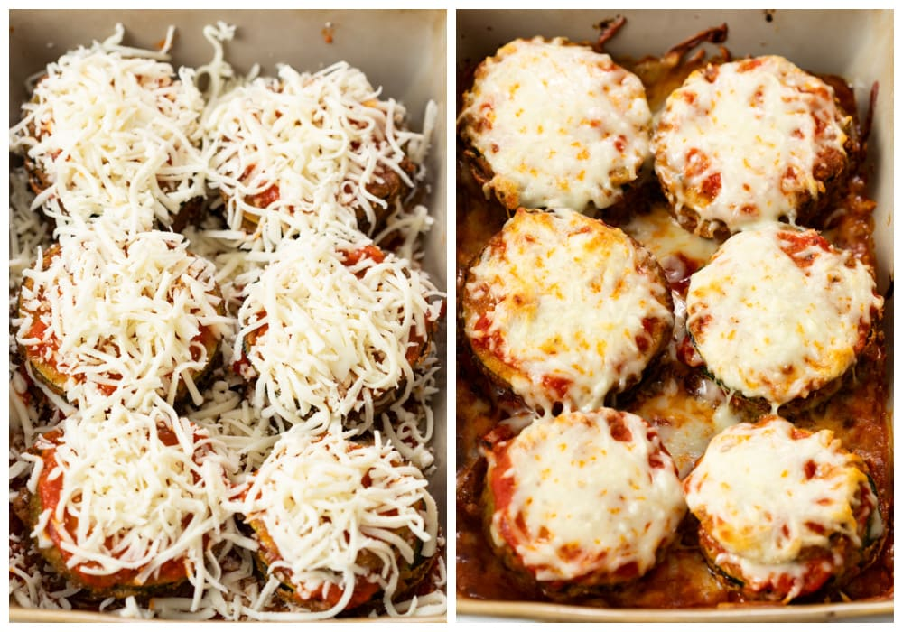 Cheesy Zucchini Parmesan in a casserole dish before and after being baked.