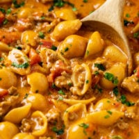 A pot full of Taco Pasta with pasta shells in a creamy taco sauce.