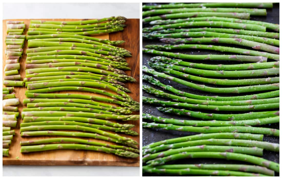 A cutting board with asparagus next to a baking sheet with asparagus before being roasted.