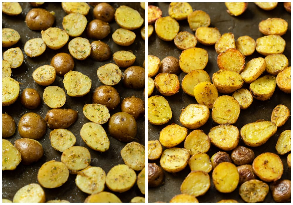 Potatoes on a baking sheet before and after being roasted.