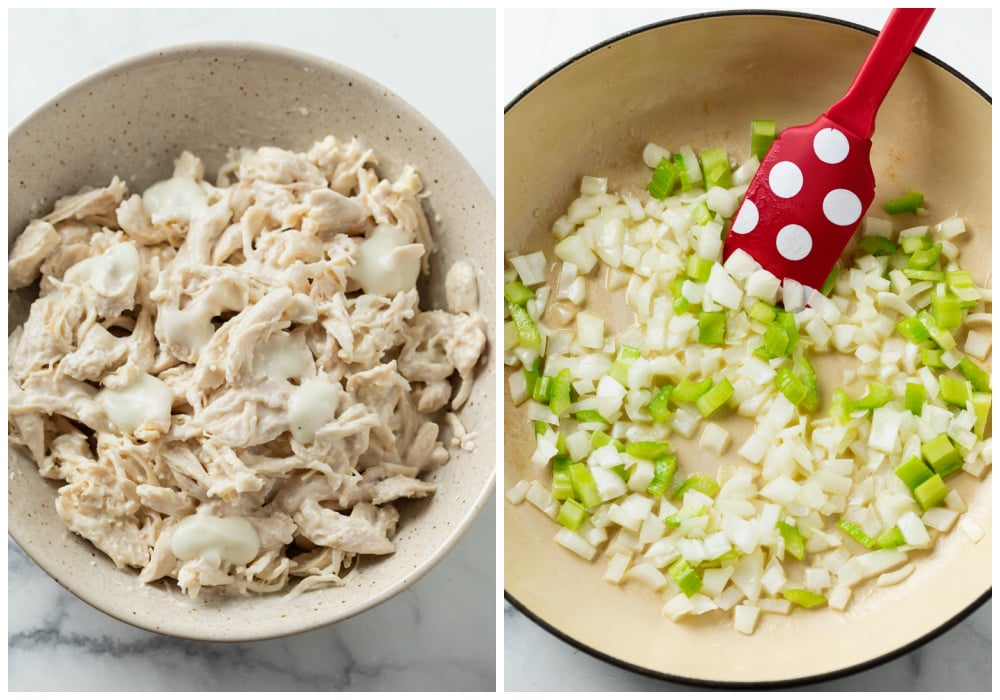 A bowl of shredded chicken in blue cheese next to a pant with sautéed onions and garlic.