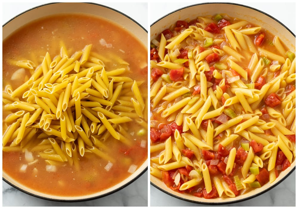 A pot with penne pasta in a tomato chicken broth sauce before and after being cooked.