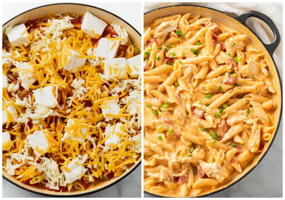 Buffalo Chicken Pasta before and after having cheese mixed in.