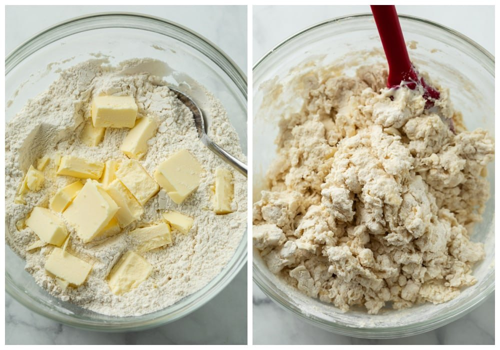 A glass bowl with dough before and after being mixed to make Buttermilk Biscuits.