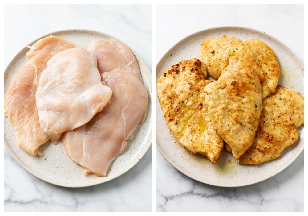 Chicken Breasts before and after being breaded and fried.