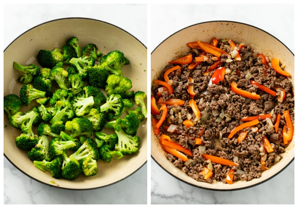 Skillets with broccoli and ground beef with bell peppers.