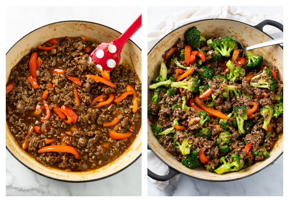 Making Ground Beef with Broccoli in a skillet with bell peppers.