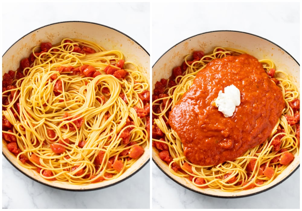 A pot with spaghetti noodles, diced tomatoes, marinara sauce, and cream cheese for one pot spaghetti.