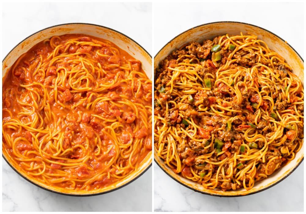 Adding meat to sauce to finish making One Pot Spaghetti.