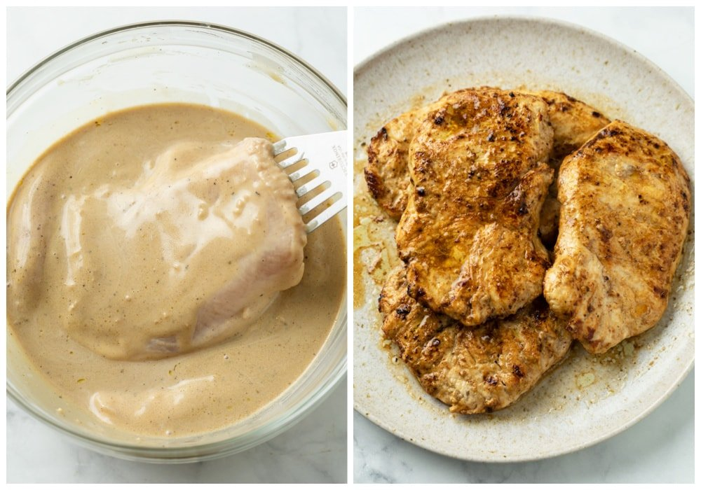 Marinated Chicken before and after searing.