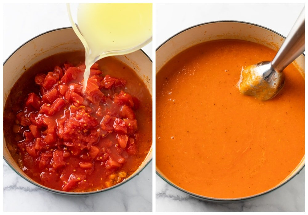 Adding chicken broth and diced tomatoes and blending to make Tomato Soup.