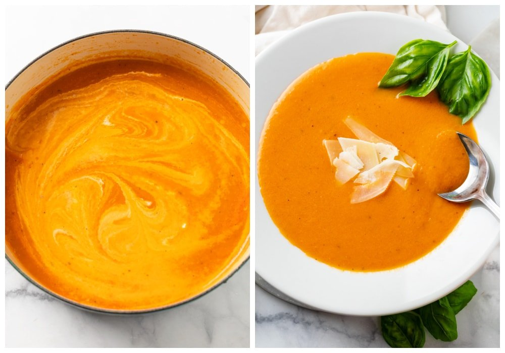 Mixing cream into Tomato Soup next to tomato soup in a bowl with a spoon in it.