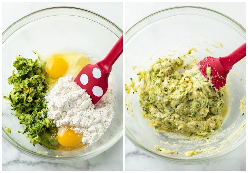 Mixing eggs, flour, and zucchini to make zucchini crust pizza.