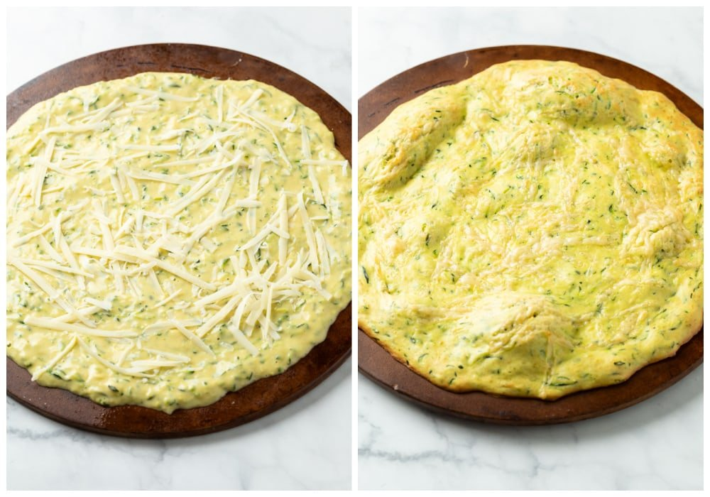 Zucchini Crust on a pizza stone before and after being baked.