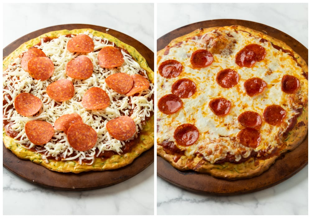 Zucchini Crust Pizza with cheese and pepperoni before and after being baked.