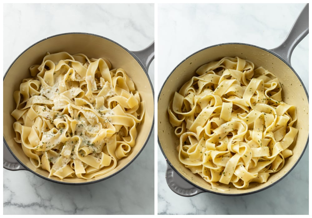 Combining Buttered noodles with Parmesan cheese and herbs in a pot.