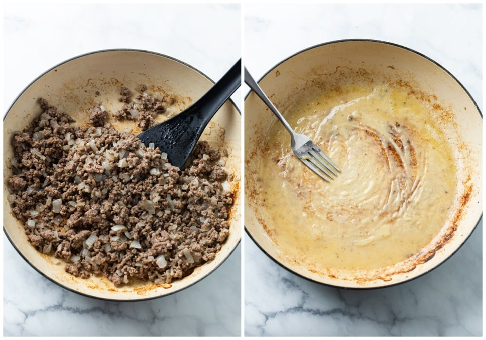 Cooked ground beef in a pot next to a pot of roux to make sauce.