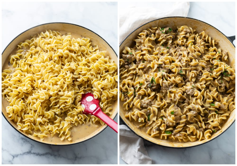 Adding egg noodles to a creamy gravy sauce for ground beef and noodles.