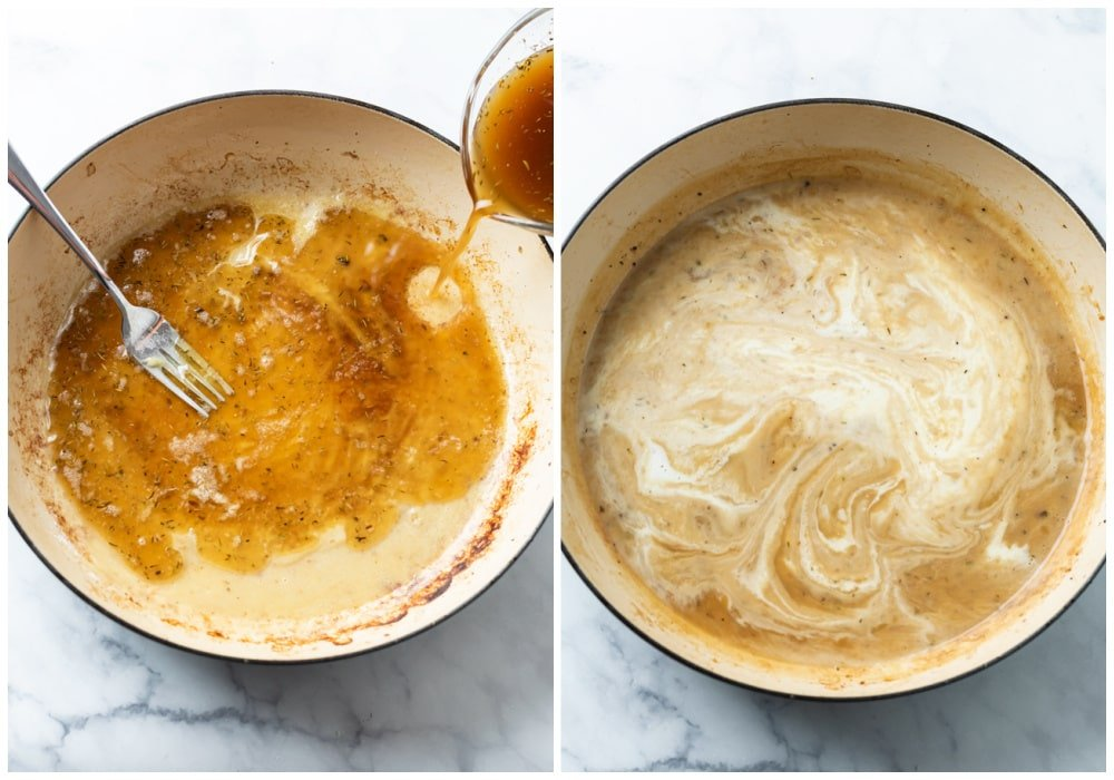 Adding beef broth and cream to roux to make a creamy beef sauce.