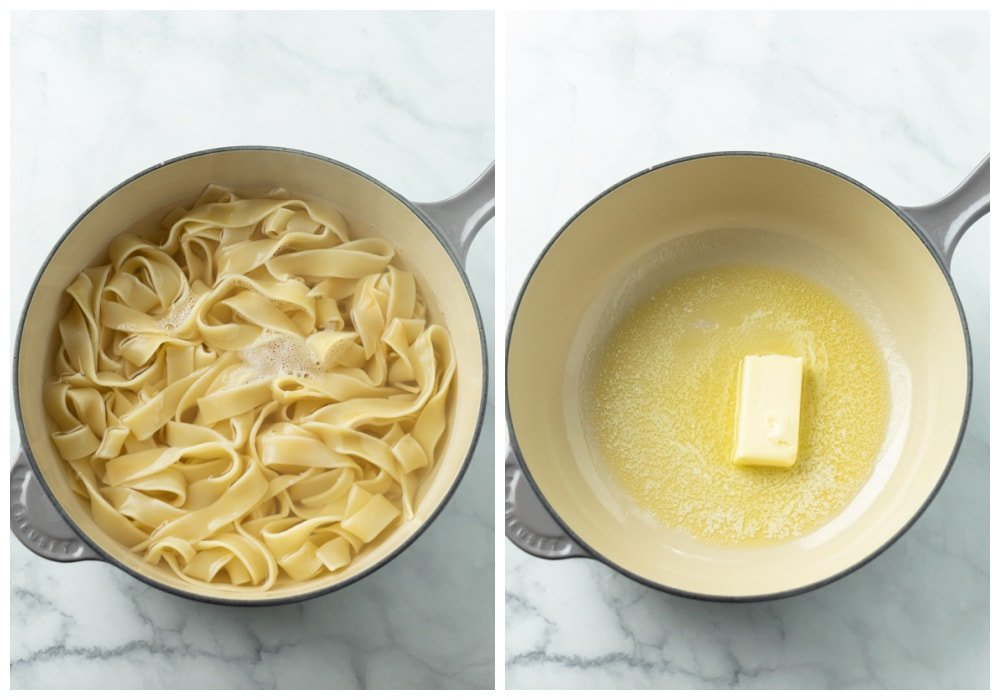 A pot with boiled pasta noodles and melted butter to make Buttered Noodles.