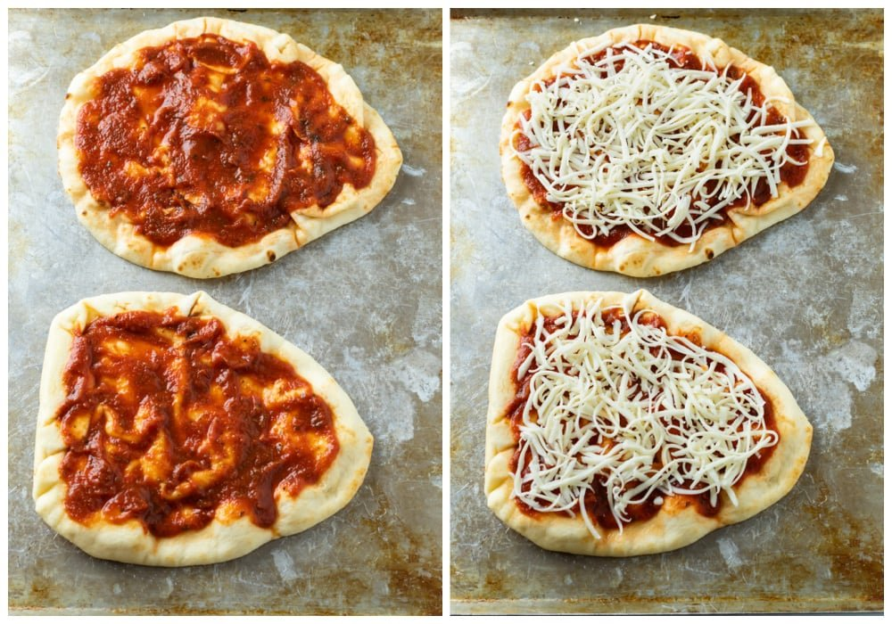 Naan Pizza with marinara sauce and cheese on top before being baked.
