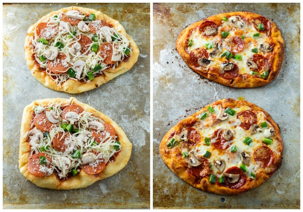 Naan Pizza with toppings and cheese before and after being baked.
