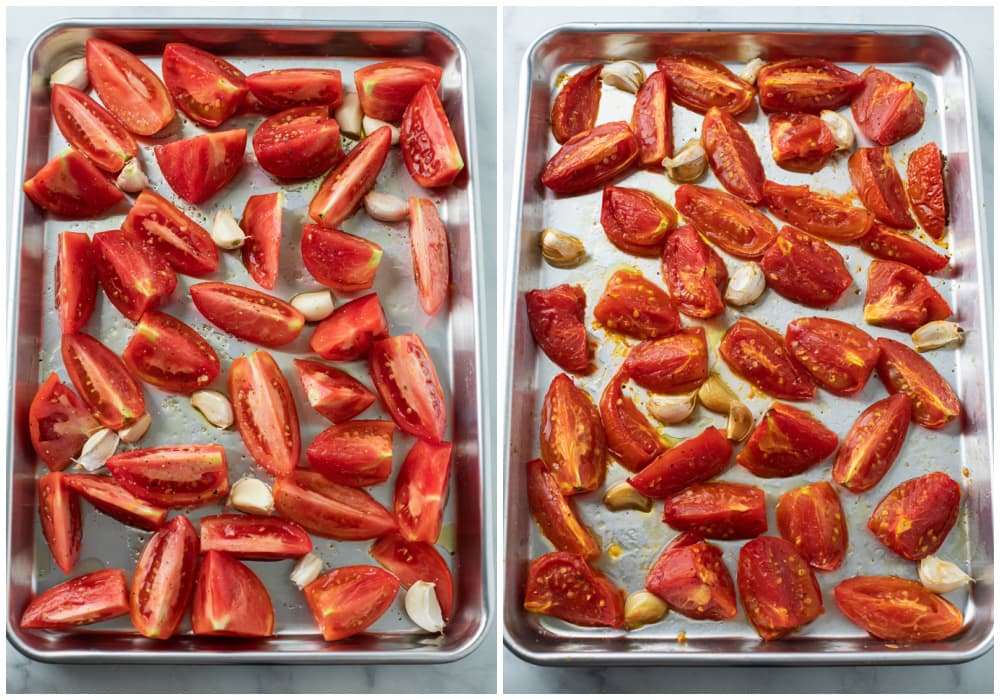 Tomatoes on a light baking sheet before and after being roasted.