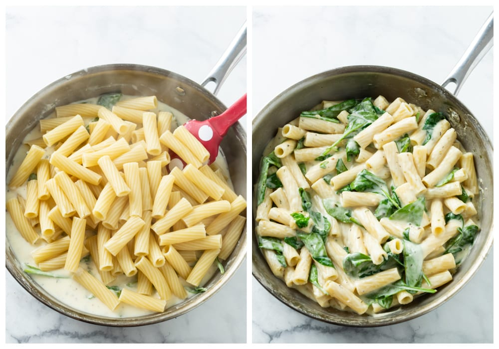 Adding ziti noodles to a Creamy Spinach Sauce and stirring to combine.
