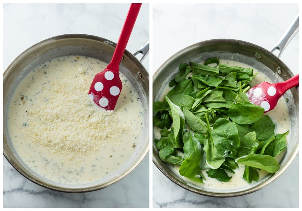 Adding Parmesan cheese and spinach to a make creamy spinach sauce.