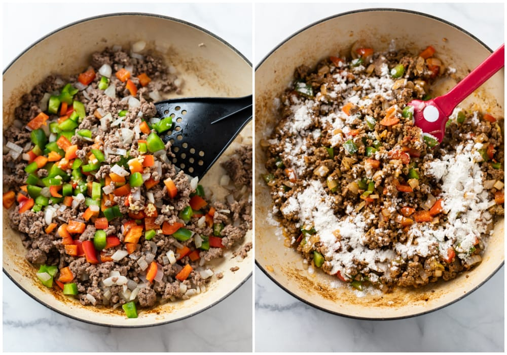 A skillet with ground beef, onions, and peppers topped with flour.