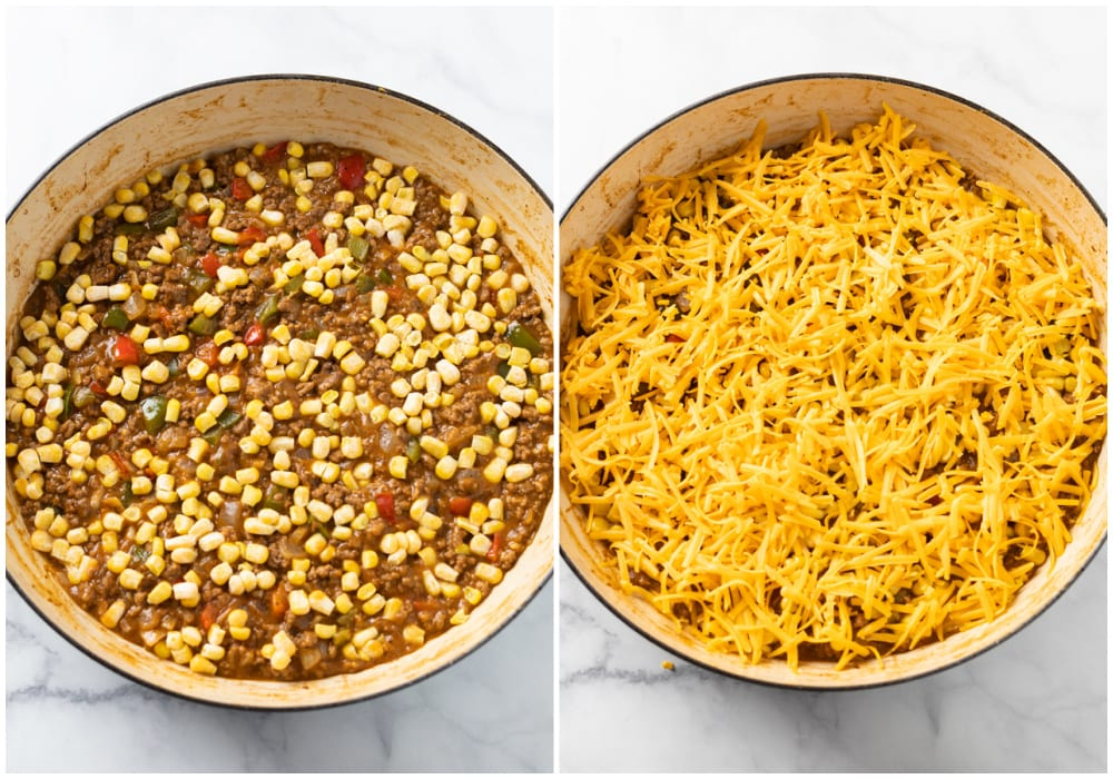 Ground beef topped with corn and cheese to make Tater Tot Casserole.
