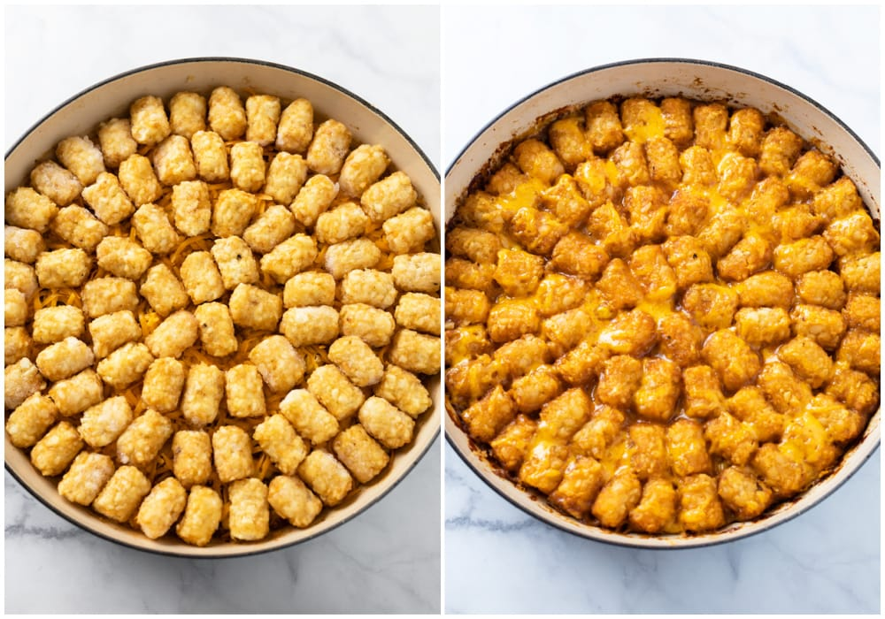 Tater Tot Casserole before and after being baked.