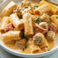 A plate with Creamy Sausage Pasta with Rigatoni.