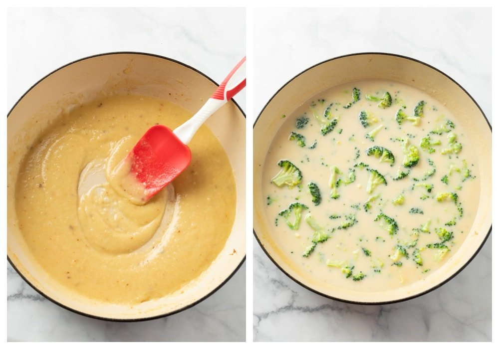 A skillet of a creamy roux with broccoli for cheese chicken.