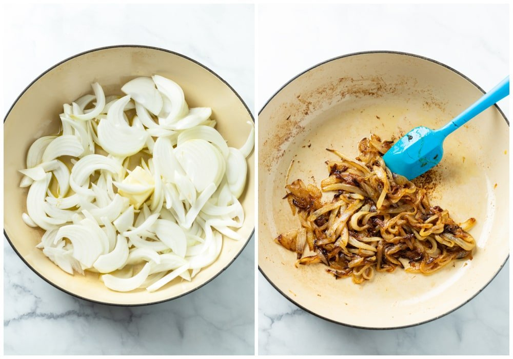 Sliced onions in a skillet before and after caramelizing.