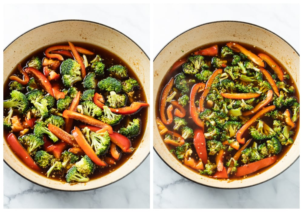 Broccoli and Peppers in a honey garlic sauce before and after being cooked.