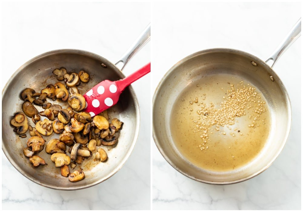 Cooking mushrooms in a pan and deglazing with white wine and garlic.