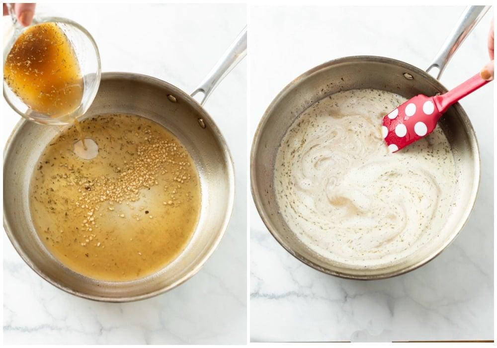 Adding broth, seasonings, and cream to a skillet to make cream sauce.