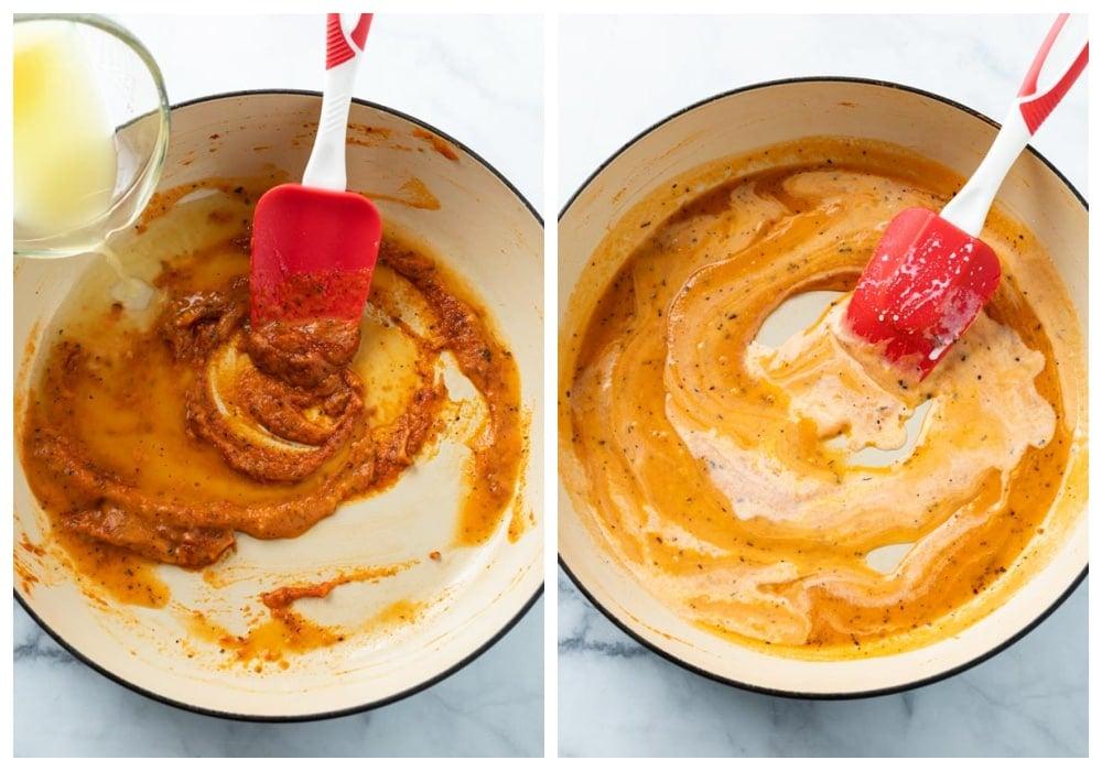 Adding chicken broth and cream to tomato paste and seasonings to make Ravioli Sauce.