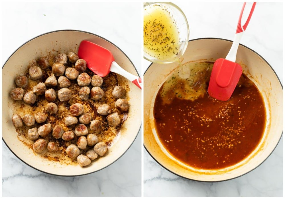A skillet with cooked sausage next to a skillet with tomato paste, wine, and chicken broth to make pasta sauce.