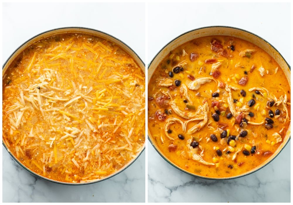 Adding cheese and combining with broth to make chicken enchilada soup.