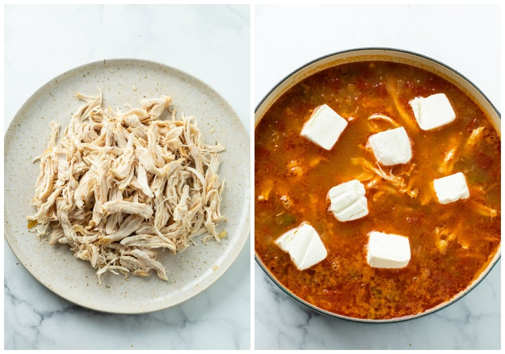 Shredded chicken on a plate next to a bowl of chicken enchilada soup with cream cheese being added.
