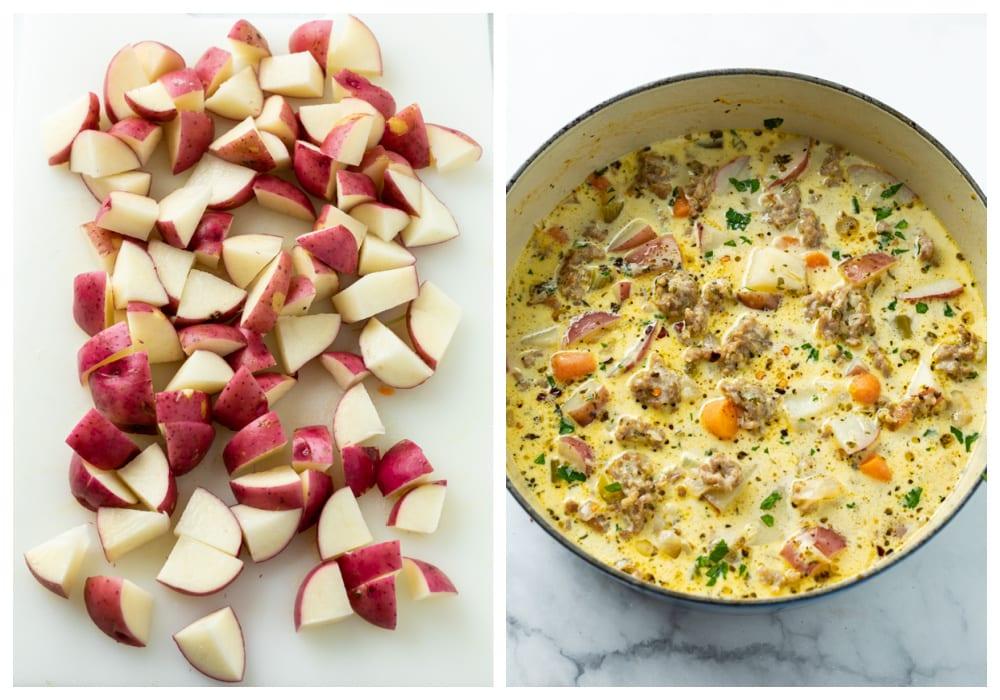 Diced potatoes next to a pot of sausage potato soup.