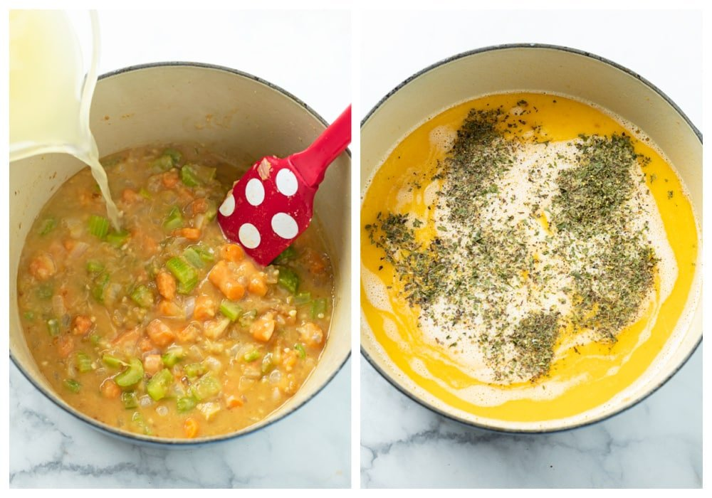 2 soup pots with carrots, celery, and onions with chicken broth and half and half being added with seasonings.