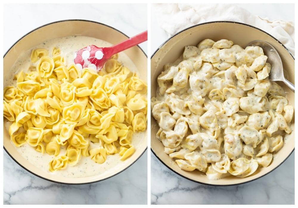 Adding tortellini to a pot of creamy tortellini sauce.